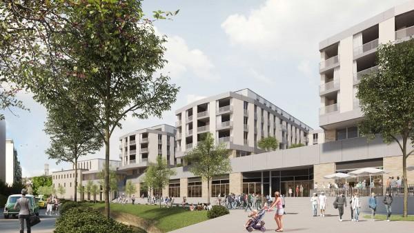 Delémont ticle crea structure bâtiments - vue des logement depuis rue de l'industrie